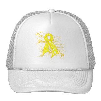 Testicular Cancer Floral Swirls Ribbon Cap