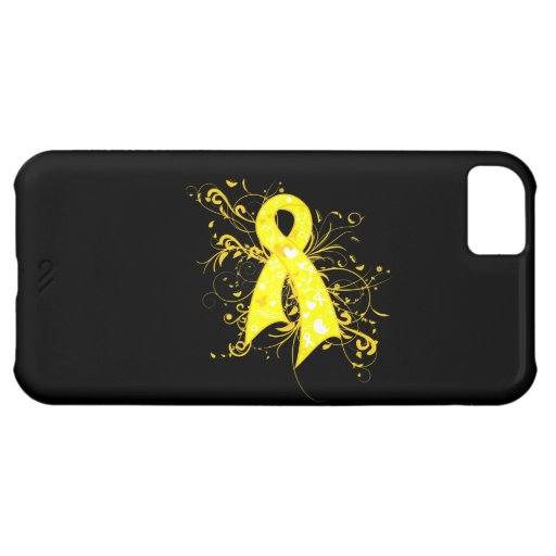 Testicular Cancer Floral Swirls Ribbon iPhone 5C Cases