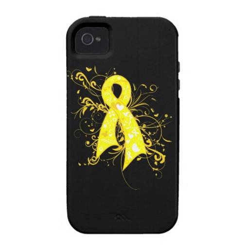 Testicular Cancer Floral Swirls Ribbon Vibe iPhone 4 Case