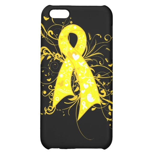 Testicular Cancer Floral Swirls Ribbon iPhone 5C Cover