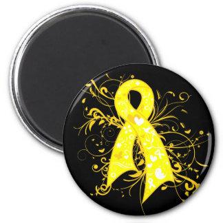 Testicular Cancer Floral Swirls Ribbon 6 Cm Round Magnet