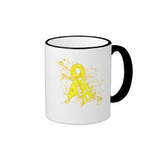Testicular Cancer Floral Swirls Ribbon Ringer Mug