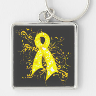 Testicular Cancer Floral Swirls Ribbon Silver-Colored Square Key Ring