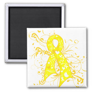 Testicular Cancer Floral Swirls Ribbon Square Magnet