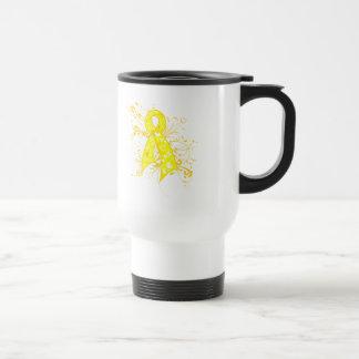 Testicular Cancer Floral Swirls Ribbon Stainless Steel Travel Mug