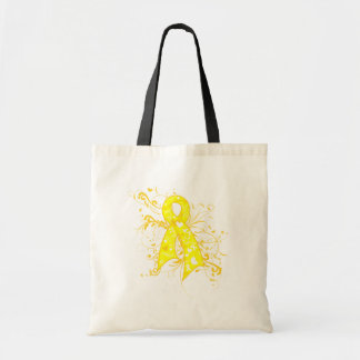 Testicular Cancer Floral Swirls Ribbon Budget Tote Bag