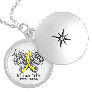 Testicular Cancer Flourish Butterfly Ribbon Round Locket Necklace