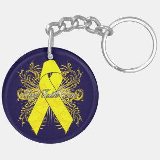 Testicular Cancer Flourish Hope Faith Cure Double-Sided Round Acrylic Key Ring