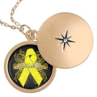 Testicular Cancer Flourish Hope Faith Cure Round Locket Necklace