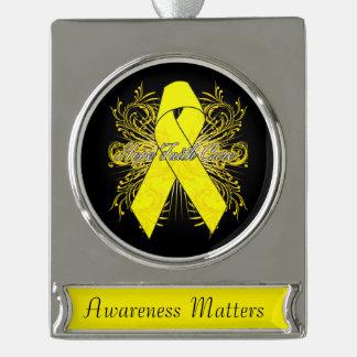 Testicular Cancer Flourish Hope Faith Cure Silver Plated Banner Ornament