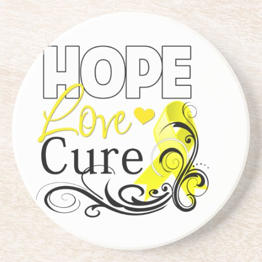 Testicular Cancer Hope Love Cure Drink Coaster