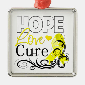 Testicular Cancer Hope Love Cure Ornaments