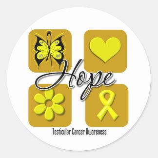 Testicular Cancer Hope Love Inspire Awareness Round Sticker