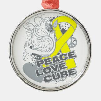 Testicular Cancer Peace Love Cure Ornament