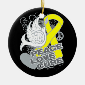 Testicular Cancer Peace Love Cure Christmas Tree Ornaments