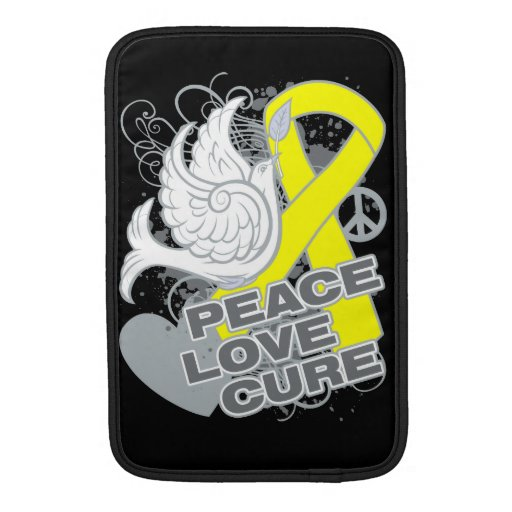 Testicular Cancer Peace Love Cure MacBook Sleeves