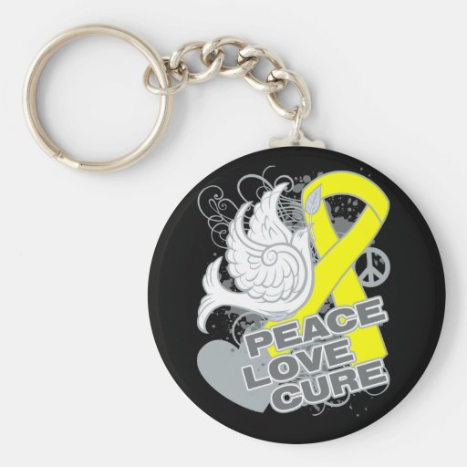 Testicular Cancer Peace Love Cure Key Chains