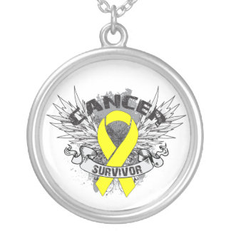 Testicular Cancer Survivor Grunge Winged Round Pendant Necklace