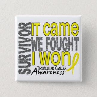 Testicular Cancer Survivor It Came We Fought I Won 15 Cm Square Badge