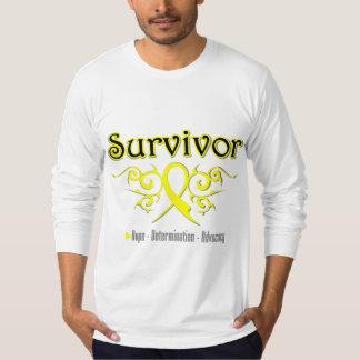 Testicular Cancer Survivor Tribal Ribbon Shirts