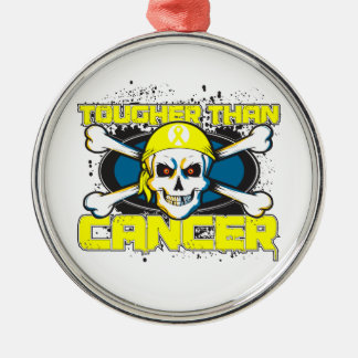 Testicular Cancer Tougher Than Cancer Skull Silver-Colored Round Decoration