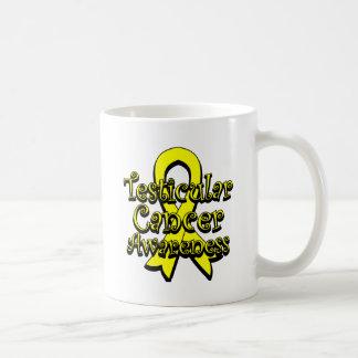 Testicular Cancer Yellow Awareness Ribbon Basic White Mug