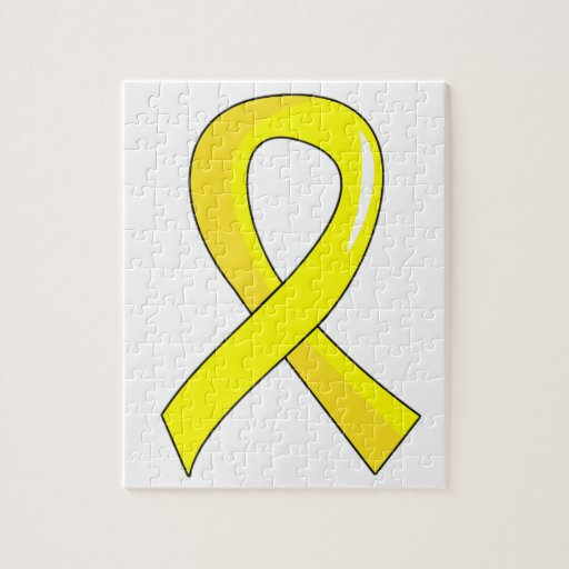 Testicular Cancer Yellow Ribbon 3 Jigsaw Puzzles