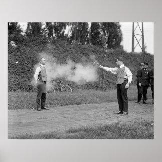 Testing Bulletproof Vest, 1923. Vintage Photo Poster