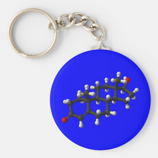 Testosterone in 3D Basic Round Button Key Ring