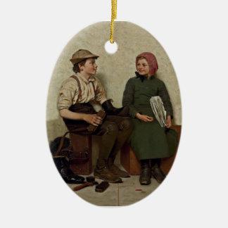 Tête à Tête~Shoe Shine Boy ~ News Girl Christmas Ornament