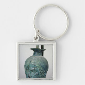Tete de Gabies' Silver-Colored Square Key Ring