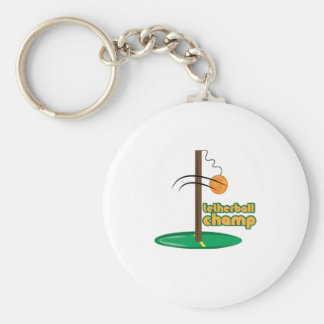 Tetherball Champ Basic Round Button Key Ring