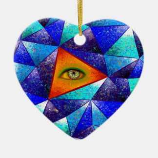 Tethrous V1 - watching triangle Ceramic Heart Decoration
