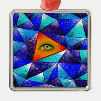 Tethrous V1 - watching triangle Silver-Colored Square Decoration