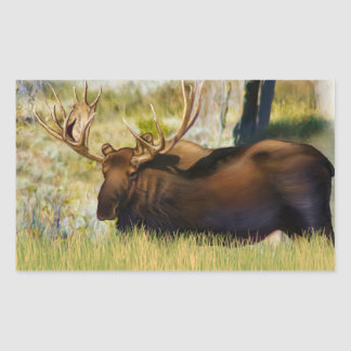 Teton King Moose Bull Rectangular Sticker