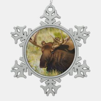 Teton King Moose Bull Snowflake Pewter Christmas Ornament