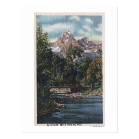 Teton National Park, WY - Twin Peaks View Postcard