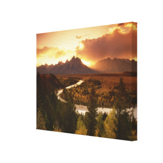 Teton Range at sunset, from Snake River Canvas Print