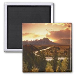 Teton Range at sunset, from Snake River Magnet