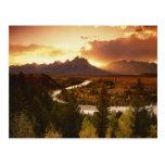Teton Range at sunset, from Snake River Postcard