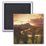 Teton Range at sunset, from Snake River Square Magnet