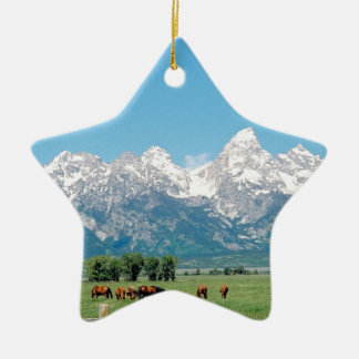 Tetons and Horses Christmas Ornament