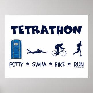Tetrathon Triathlon T-shirt Print