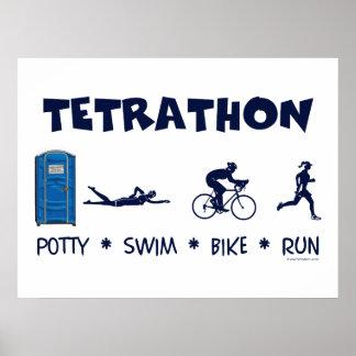 Tetrathon Triathlon T-shirt Posters