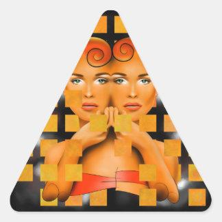 Tetrathos V1 - heart head Triangle Sticker
