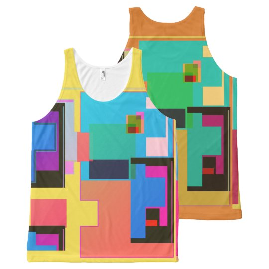 Tetris Type Shapes All-Over Print Tank Top