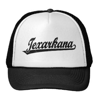 Texarkana script logo in black distressed trucker hat