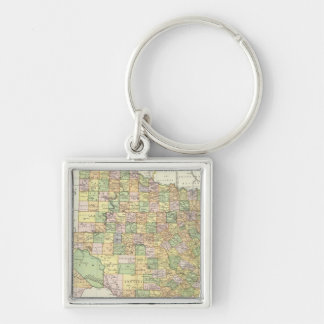 Texas 15 Silver-Colored square key ring