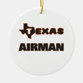 Texas Airman Round Ceramic Decoration