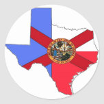 Texas and Florida Round Sticker
